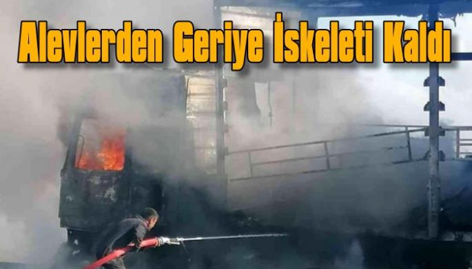 Ardahan'da Alev Alan Tırdan Geriye İskeleti Kaldı