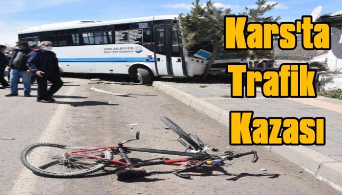 Cadde üzerinde bisiklet süren çocuğa araç çarptı!