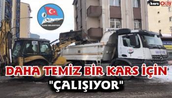 Kars Belediyesi kar temizleme çalışmalarını aralıksız sürdürüyor