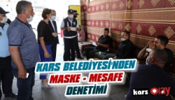 Kars Belediyesi'nden Maske Sosyal Mesafe Denetimi