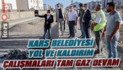 Kars Belediyesi Yol ve Kaldırım Çalışmalarını Aralıksız Sürdürüyor