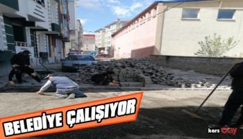 Kars Belediyesi, yol yapım çalışmalarını aralıksız sürdürüyor