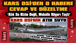 Kars DSİ'den Atık Su Haberine Cevap