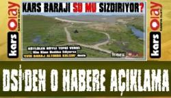 Kars DSİ'den 'Kars Barajı Su Mu Sızdırıyor?' Haberine Açıklama