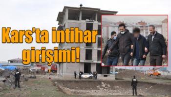 Kars'ta 5 katlı binada intihar girişimi!