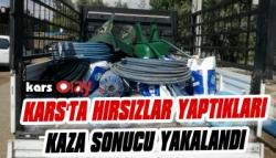 Kars'ta Hırsızlar Yaptıkları Kaza Sonucu Yakalandı